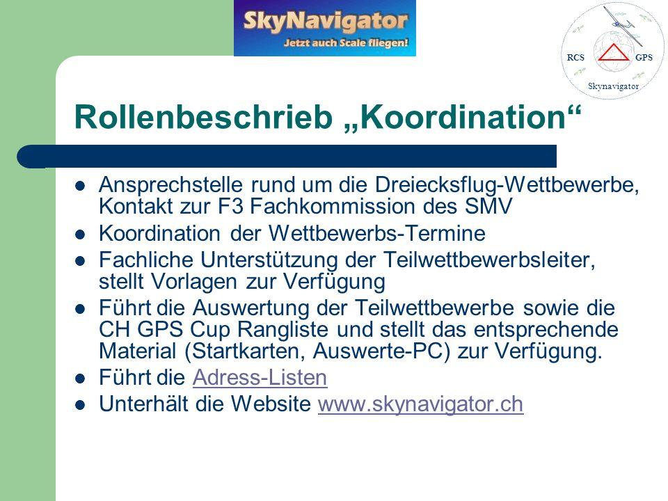 RCSGPS Skynavigator Rollenbeschrieb Teilwettbewerbsleiter Organisiert einen Teilwettbewerb, d.h.
