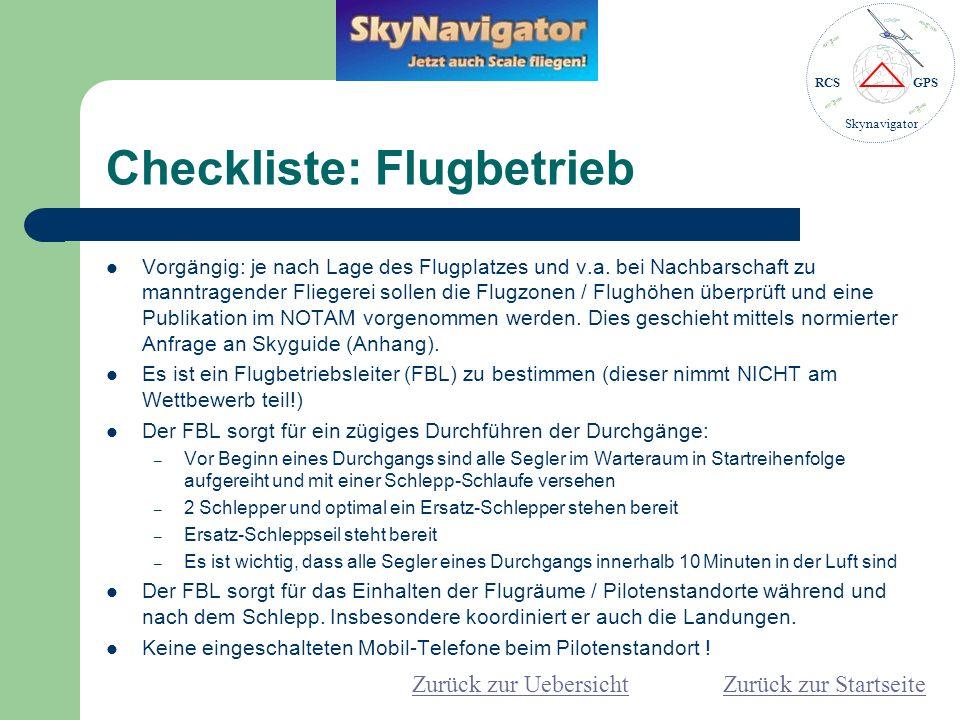 RCSGPS Skynavigator Checkliste: Frequenzen Skynavigator: – Es sind neben den Skynavigator keine Varios zugelassen.