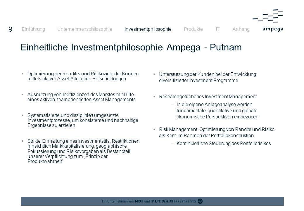 19 Funktionale Organisation Ampega Einführung Unternehmensphilosophie Investmentphilosophie Produkte IT Anhang CEO Harry Ploemacher CEO Harry Ploemacher Assistant Dorothee Bruns Assistant Dorothee Bruns Human Resources Investment Management Capital Markets Jürgen Gielsdorf Investment Management Capital Markets Jürgen Gielsdorf Structured Investments and Finance Rainer Decker Structured Investments and Finance Rainer Decker Institutional Business Harald Schnorrenberg Institutional Business Harald Schnorrenberg Retail Business Manfred Köberlein Retail Business Manfred Köberlein Operations - Internal Services Jürgen Wrobbel Operations - Internal Services Jürgen Wrobbel Operations - Capital Market Services Bruno Vanderschelden Operations - Capital Market Services Bruno Vanderschelden Investment Strategy Fixed Income Portfolio Management Balanced/Equities Investment Strategy Asset Allocation/Equities Portfolio Management Fixed Income Alternative Investments Securities Management Financial & Insurance Services Cash Management Institutional Sales & Relationship Management Institutional Client Service Retail Business Sales & Support Third Party Distribution Marketing Fund Accounting IT/Organisation Corporate Planning & Controlling Legal Compliance Money Laundering Internal Audit Investment Accounting Investment Controlling & Reporting