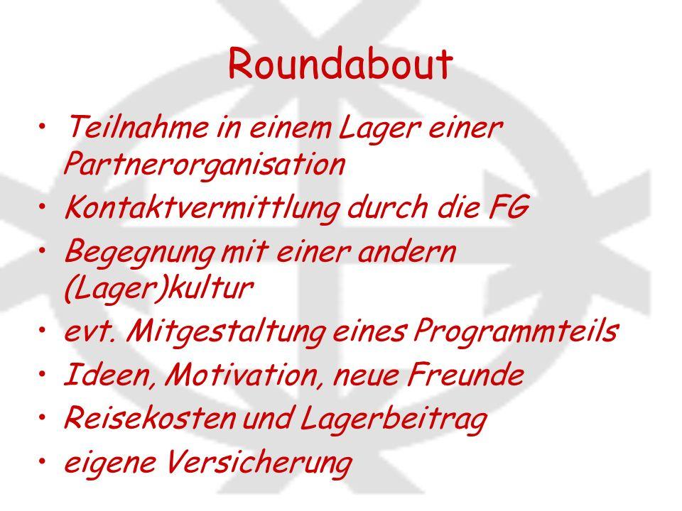 Roundabout Teilnahme in einem Lager einer Partnerorganisation Kontaktvermittlung durch die FG Begegnung mit einer andern (Lager)kultur evt. Mitgestalt