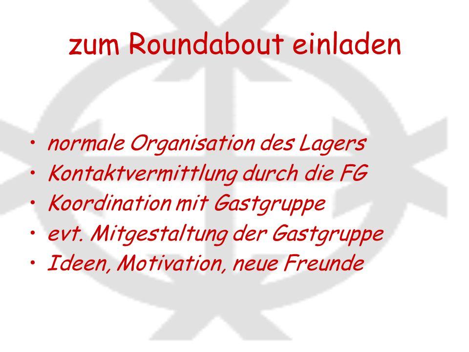 zum Roundabout einladen normale Organisation des Lagers Kontaktvermittlung durch die FG Koordination mit Gastgruppe evt. Mitgestaltung der Gastgruppe
