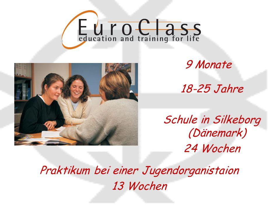 18-25 Jahre 9 Monate Praktikum bei einer Jugendorganistaion 13 Wochen Schule in Silkeborg (Dänemark) 24 Wochen