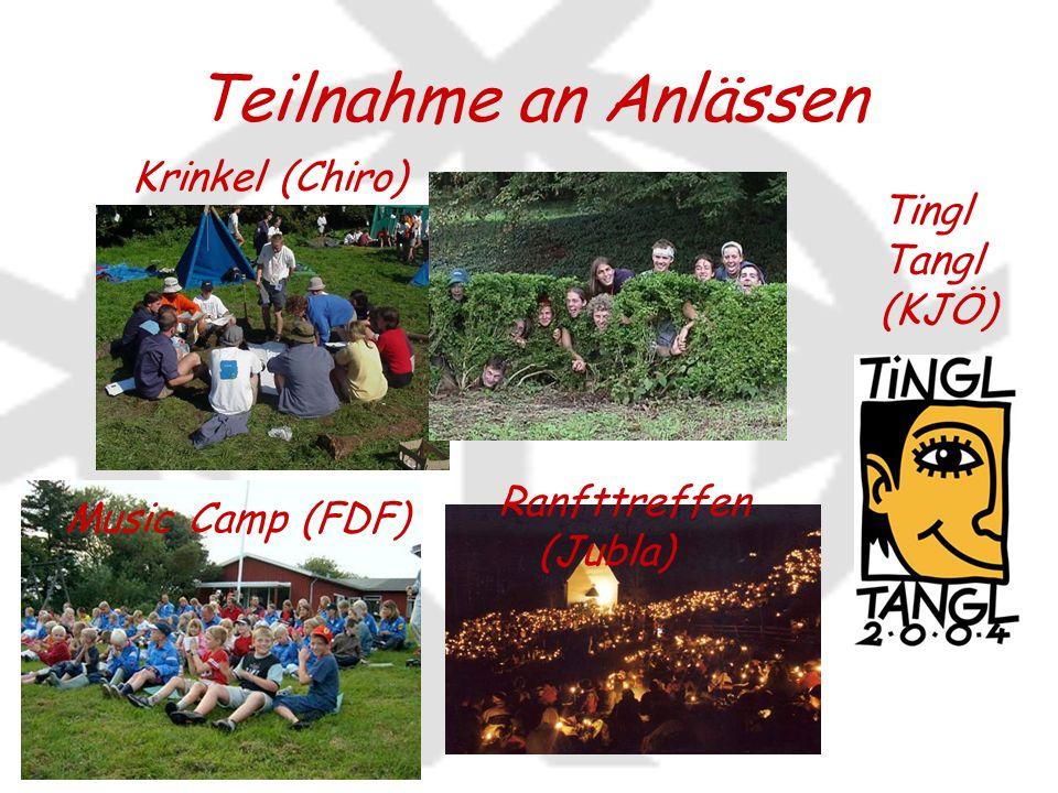 Teilnahme an Anlässen Krinkel (Chiro) Tingl Tangl (KJÖ) Music Camp (FDF) Ranfttreffen (Jubla)