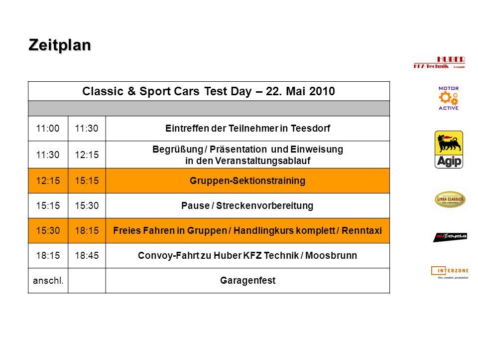 Zeitplan Classic & Sport Cars Test Day – 22. Mai 2010 11:0011:30Eintreffen der Teilnehmer in Teesdorf 11:3012:15 Begrüßung / Präsentation und Einweisu