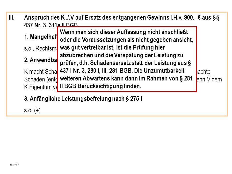 © sl 2005 III.Anspruch des K./.V auf Ersatz des entgangenen Gewinns i.H.v.