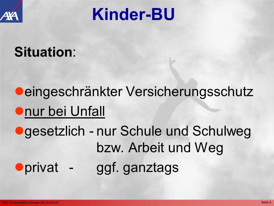 PVT/ Präsentation Kinder-BU, 04.08.03 Seite 2 Situation: eingeschränkter Versicherungsschutz nur bei Unfall gesetzlich -nur Schule und Schulweg bzw. A
