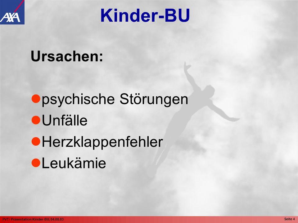 PVT/ Präsentation Kinder-BU, 04.08.03 Seite 15 Höhe der BU-Rente: 1.000,-- EUR mtl.
