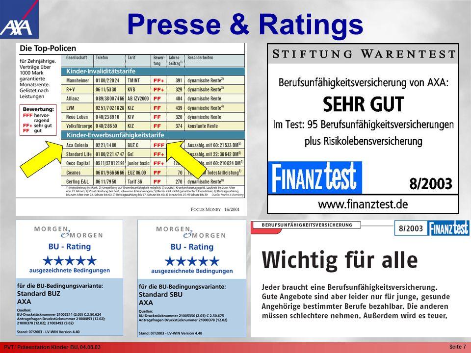 PVT/ Präsentation Kinder-BU, 04.08.03 Seite 8 Presse & Ratings