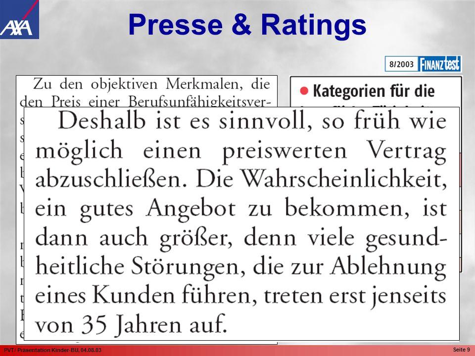 PVT/ Präsentation Kinder-BU, 04.08.03 Seite 10 Presse & Ratings Stand: 09.07.03