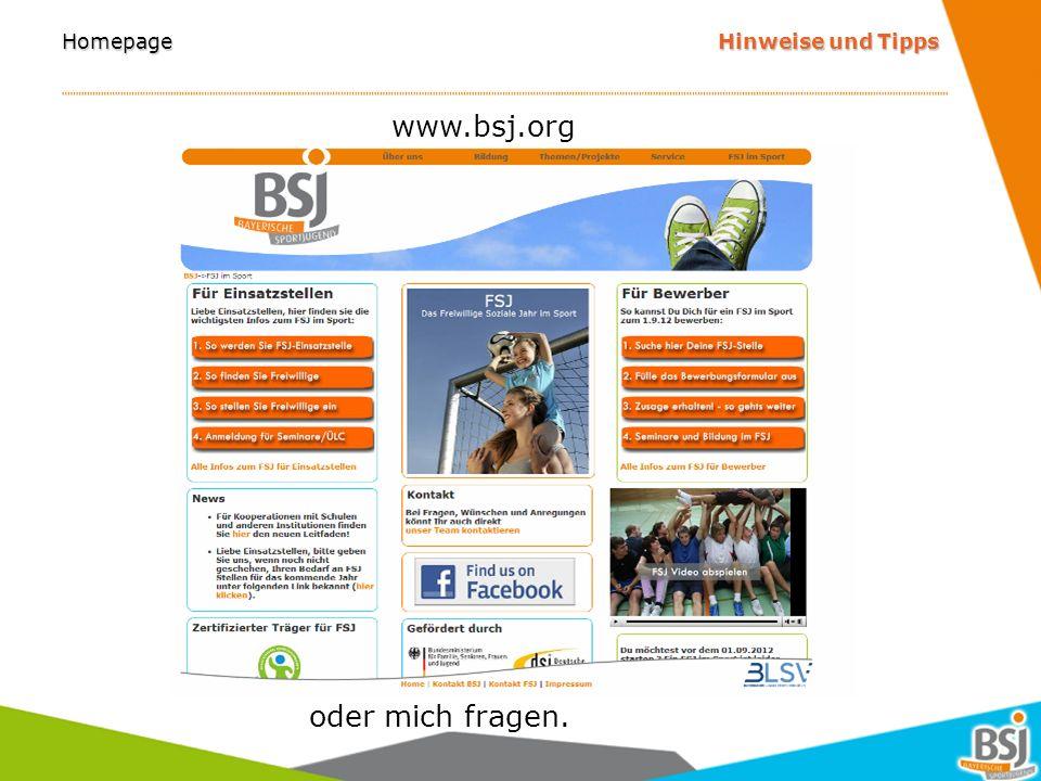 Homepage Hinweise und Tipps www.facebook.com/FSJimSportinBayern