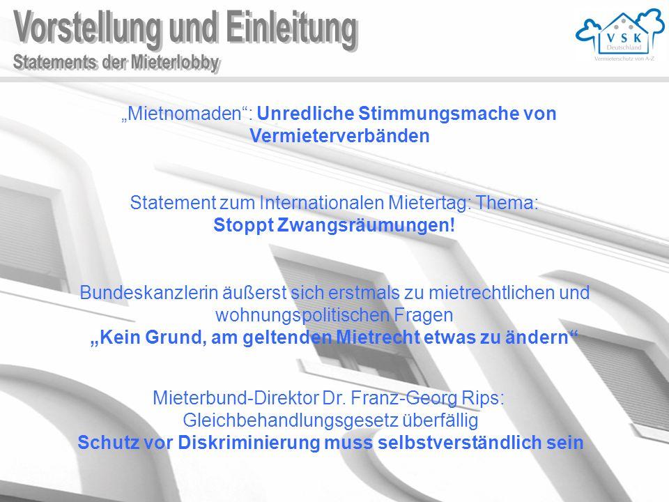 Mietnomaden : Unredliche Stimmungsmache von Vermieterverbänden Statement zum Internationalen Mietertag: Thema: Stoppt Zwangsräumungen.