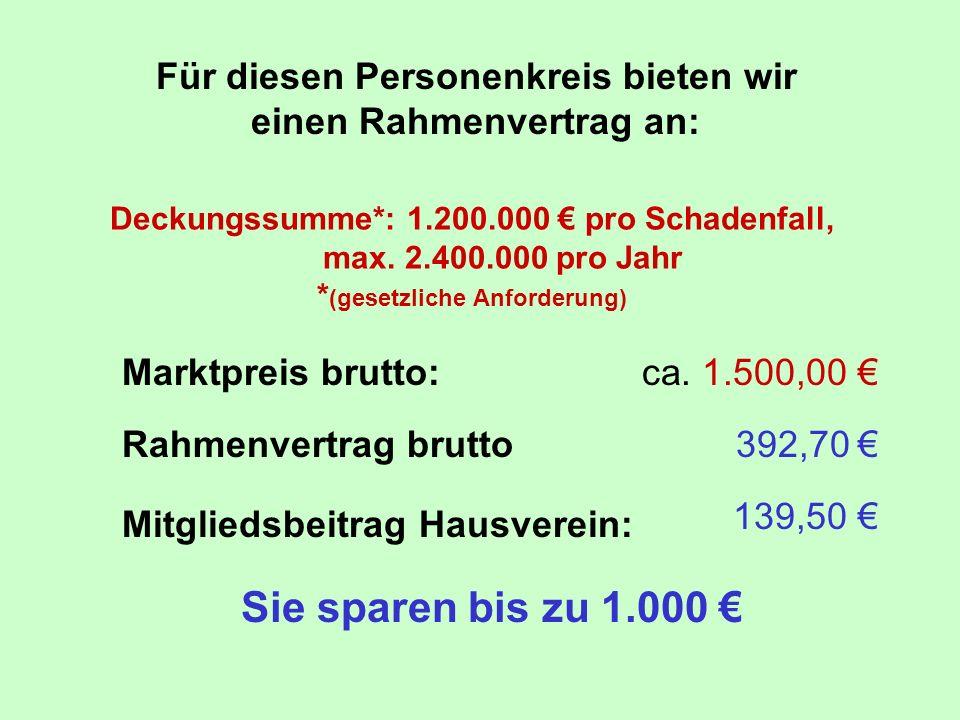 Deckungssumme*: 1.200.000 pro Schadenfall, max. 2.400.000 pro Jahr * (gesetzliche Anforderung) Marktpreis brutto:ca. 1.500,00 Rahmenvertrag brutto392,