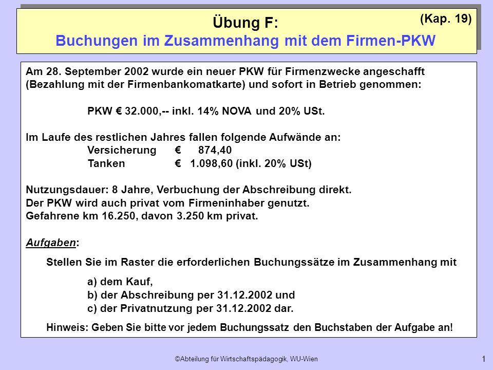 ©Abteilung für Wirtschaftspädagogik, WU-Wien 1 Übung F: Buchungen im Zusammenhang mit dem Firmen-PKW (Kap. 19) Am 28. September 2002 wurde ein neuer P