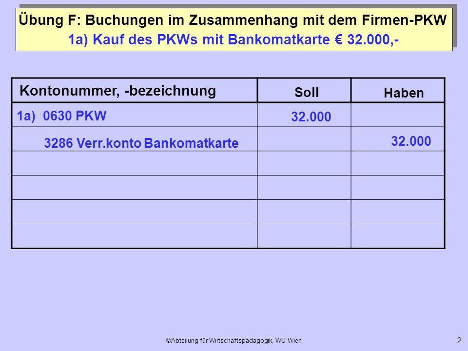 ©Abteilung für Wirtschaftspädagogik, WU-Wien 2 1a) Kauf des PKWs mit Bankomatkarte 32.000,- Kontonummer, -bezeichnung Soll Haben 3286 Verr.konto Banko