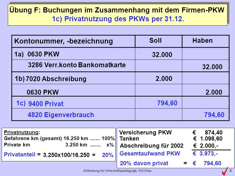 ©Abteilung für Wirtschaftspädagogik, WU-Wien 4 1c) Privatnutzung des PKWs per 31.12. Privatnutzung: Gefahrene km (gesamt) 16.250 km....... 100% Privat