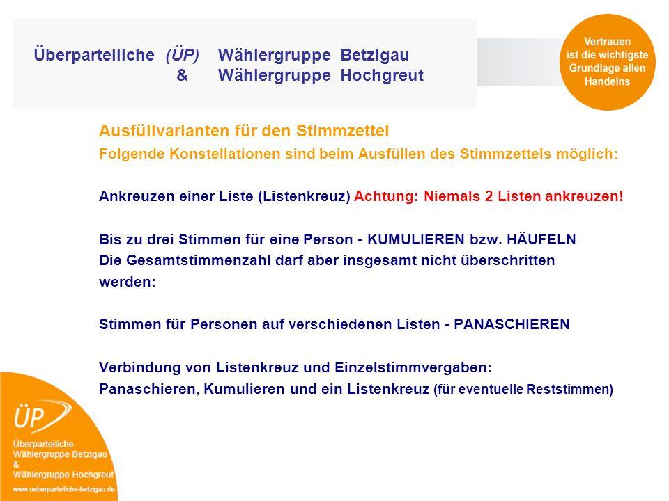 Überparteiliche (ÜP) Wählergruppe Betzigau & Wählergruppe Hochgreut Ausfüllvarianten für den Stimmzettel Folgende Konstellationen sind beim Ausfüllen