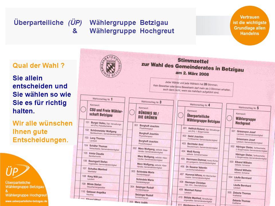 Überparteiliche (ÜP) Wählergruppe Betzigau & Wählergruppe Hochgreut Qual der Wahl ? Sie allein entscheiden und Sie wählen so wie Sie es für richtig ha