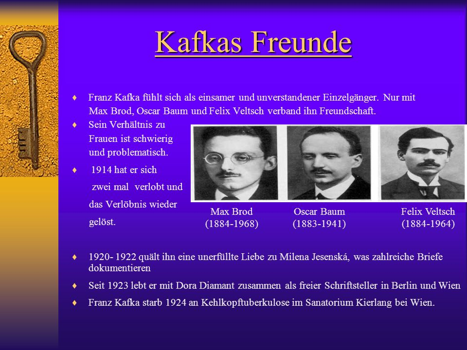 Franz Kafka fühlt sich als einsamer und unverstandener Einzelgänger. Nur mit Max Brod, Oscar Baum und Felix Veltsch verband ihn Freundschaft. Sein Ver