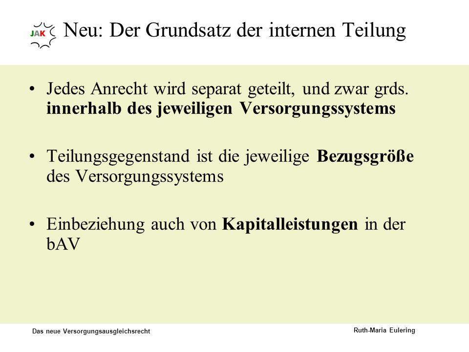Das neue Versorgungsausgleichsrecht Ruth-Maria Eulering Neu: Der Grundsatz der internen Teilung Jedes Anrecht wird separat geteilt, und zwar grds. inn