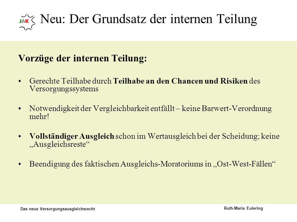 Das neue Versorgungsausgleichsrecht Ruth-Maria Eulering Neu: Der Grundsatz der internen Teilung Vorzüge der internen Teilung: Gerechte Teilhabe durch