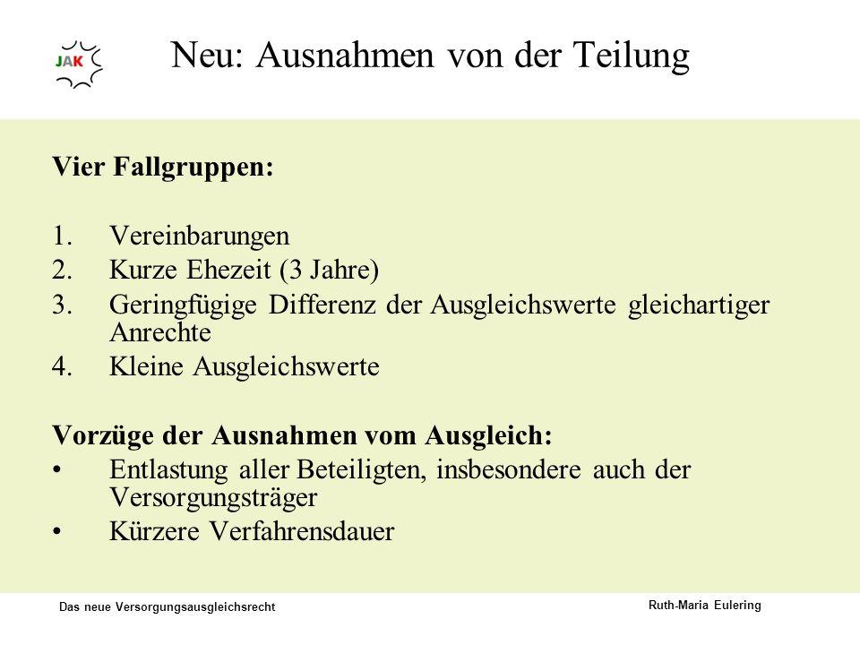 Das neue Versorgungsausgleichsrecht Ruth-Maria Eulering Neu: Ausnahmen von der Teilung Vier Fallgruppen: 1.Vereinbarungen 2.Kurze Ehezeit (3 Jahre) 3.