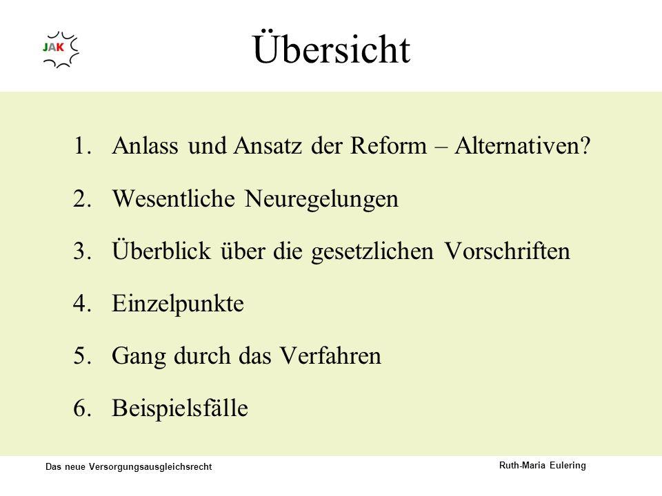 Das neue Versorgungsausgleichsrecht Ruth-Maria Eulering Übersicht 1.Anlass und Ansatz der Reform – Alternativen? 2.Wesentliche Neuregelungen 3.Überbli