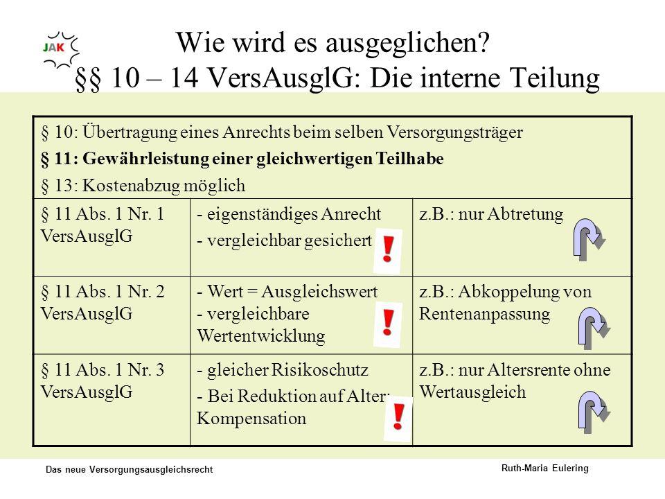 Das neue Versorgungsausgleichsrecht Ruth-Maria Eulering Wie wird es ausgeglichen? §§ 10 – 14 VersAusglG: Die interne Teilung § 10: Übertragung eines A