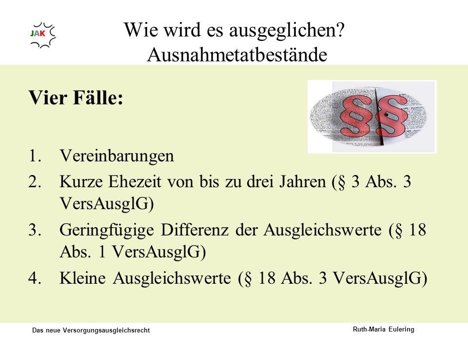 Das neue Versorgungsausgleichsrecht Ruth-Maria Eulering Wie wird es ausgeglichen? Ausnahmetatbestände Vier Fälle: 1.Vereinbarungen 2.Kurze Ehezeit von