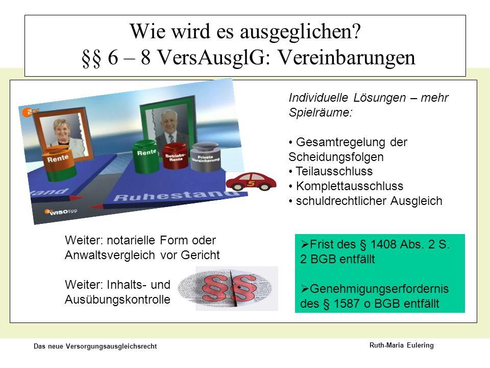 Das neue Versorgungsausgleichsrecht Ruth-Maria Eulering Wie wird es ausgeglichen? §§ 6 – 8 VersAusglG: Vereinbarungen Individuelle Lösungen – mehr Spi