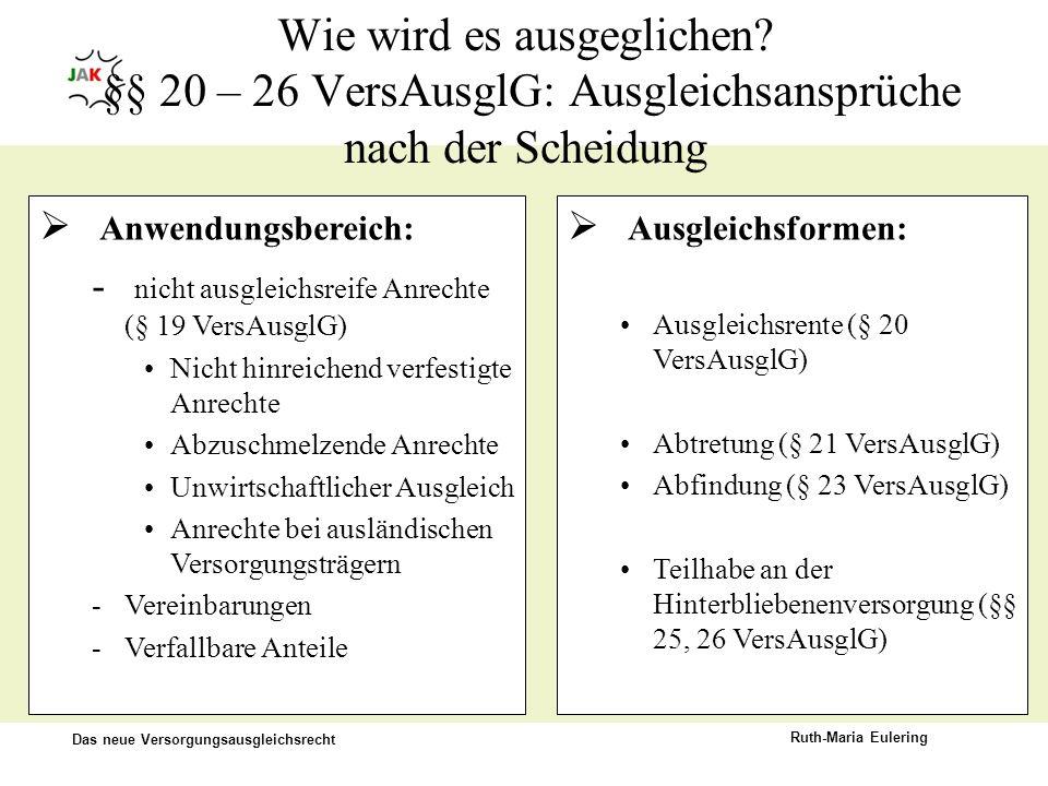 Das neue Versorgungsausgleichsrecht Ruth-Maria Eulering Wie wird es ausgeglichen? §§ 20 – 26 VersAusglG: Ausgleichsansprüche nach der Scheidung Ausgle