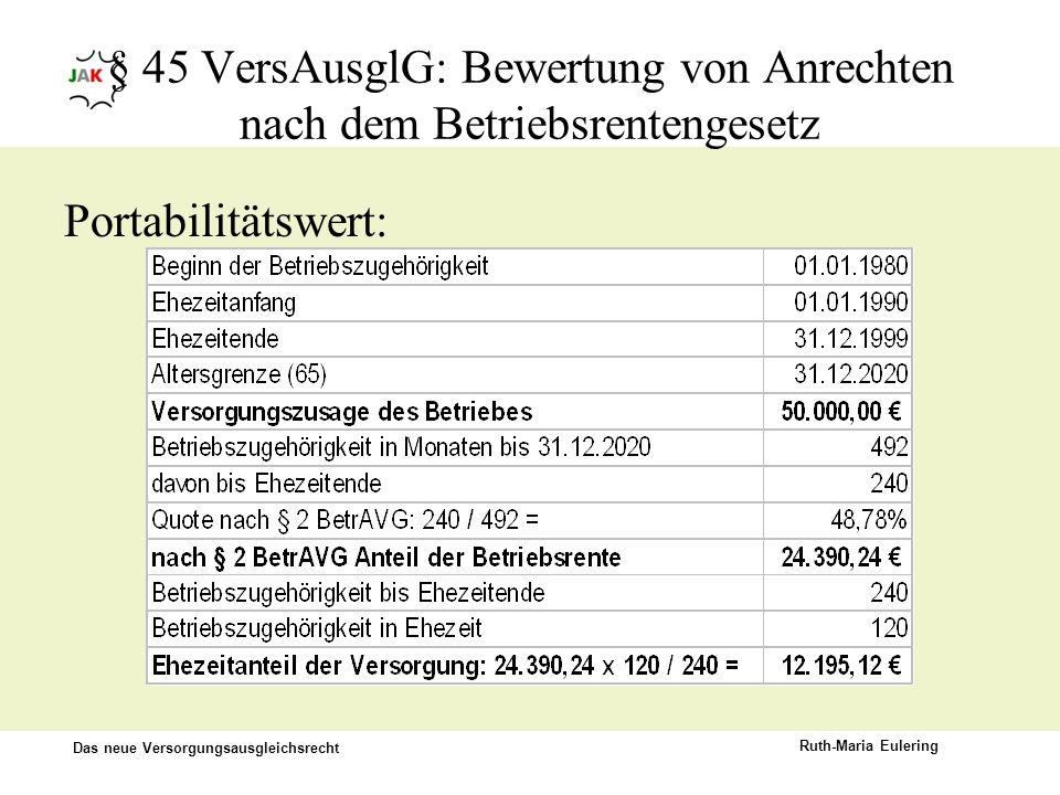 Das neue Versorgungsausgleichsrecht Ruth-Maria Eulering § 45 VersAusglG: Bewertung von Anrechten nach dem Betriebsrentengesetz Portabilitätswert: