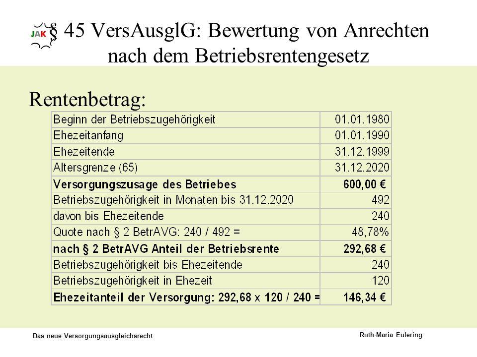 Das neue Versorgungsausgleichsrecht Ruth-Maria Eulering § 45 VersAusglG: Bewertung von Anrechten nach dem Betriebsrentengesetz Rentenbetrag: