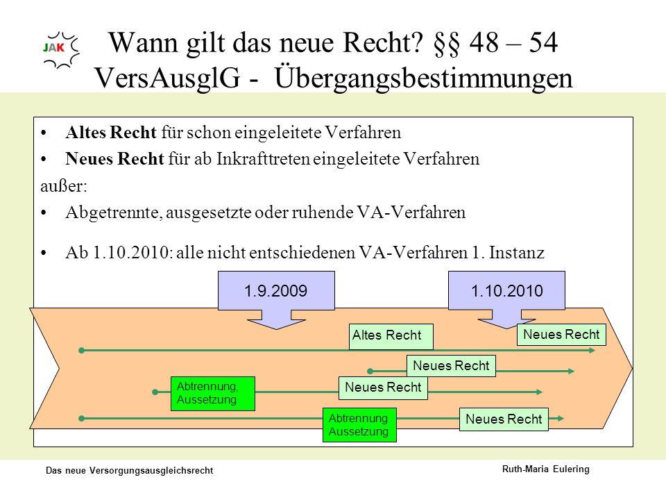 Das neue Versorgungsausgleichsrecht Ruth-Maria Eulering Altes Recht für schon eingeleitete Verfahren Neues Recht für ab Inkrafttreten eingeleitete Ver