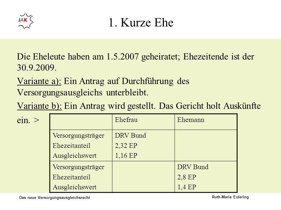 Das neue Versorgungsausgleichsrecht Ruth-Maria Eulering 1. Kurze Ehe Die Eheleute haben am 1.5.2007 geheiratet; Ehezeitende ist der 30.9.2009. Variant