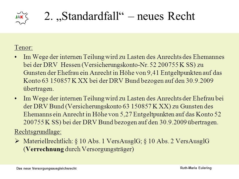 Das neue Versorgungsausgleichsrecht Ruth-Maria Eulering 2. Standardfall – neues Recht Tenor: Im Wege der internen Teilung wird zu Lasten des Anrechts