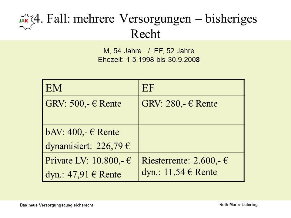 Das neue Versorgungsausgleichsrecht Ruth-Maria Eulering 4. Fall: mehrere Versorgungen – bisheriges Recht EMEF GRV: 500,- RenteGRV: 280,- Rente bAV: 40
