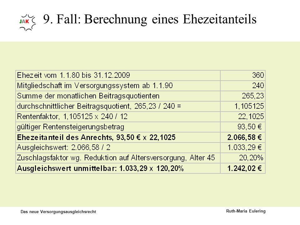Das neue Versorgungsausgleichsrecht Ruth-Maria Eulering 9. Fall: Berechnung eines Ehezeitanteils
