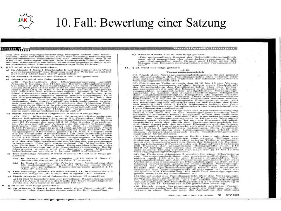 Das neue Versorgungsausgleichsrecht Ruth-Maria Eulering 10. Fall: Bewertung einer Satzung