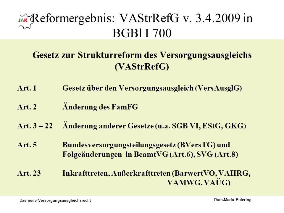 Das neue Versorgungsausgleichsrecht Ruth-Maria Eulering Reformergebnis: VAStrRefG v. 3.4.2009 in BGBl I 700 Gesetz zur Strukturreform des Versorgungsa