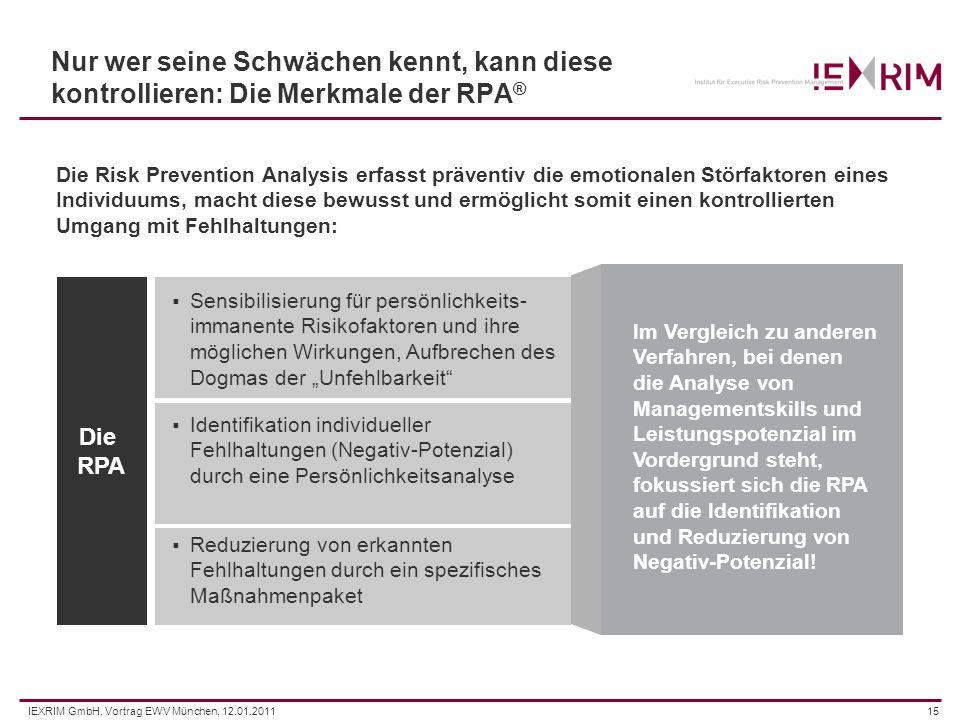 IEXRIM GmbH, Vortrag EWV München, 12.01.201115 Die Risk Prevention Analysis erfasst präventiv die emotionalen Störfaktoren eines Individuums, macht di