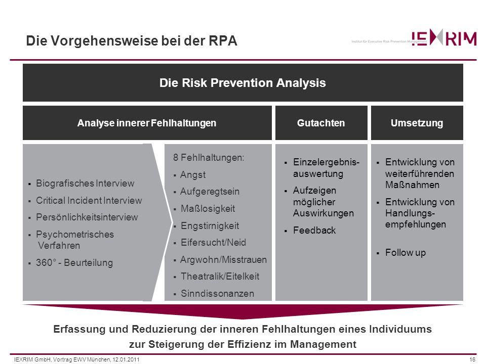 IEXRIM GmbH, Vortrag EWV München, 12.01.201116 Die Vorgehensweise bei der RPA Die Risk Prevention Analysis Analyse innerer FehlhaltungenGutachtenUmset