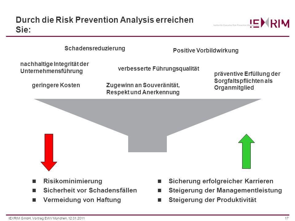 IEXRIM GmbH, Vortrag EWV München, 12.01.201117 Durch die Risk Prevention Analysis erreichen Sie: Risikominimierung Sicherheit vor Schadensfällen Verme