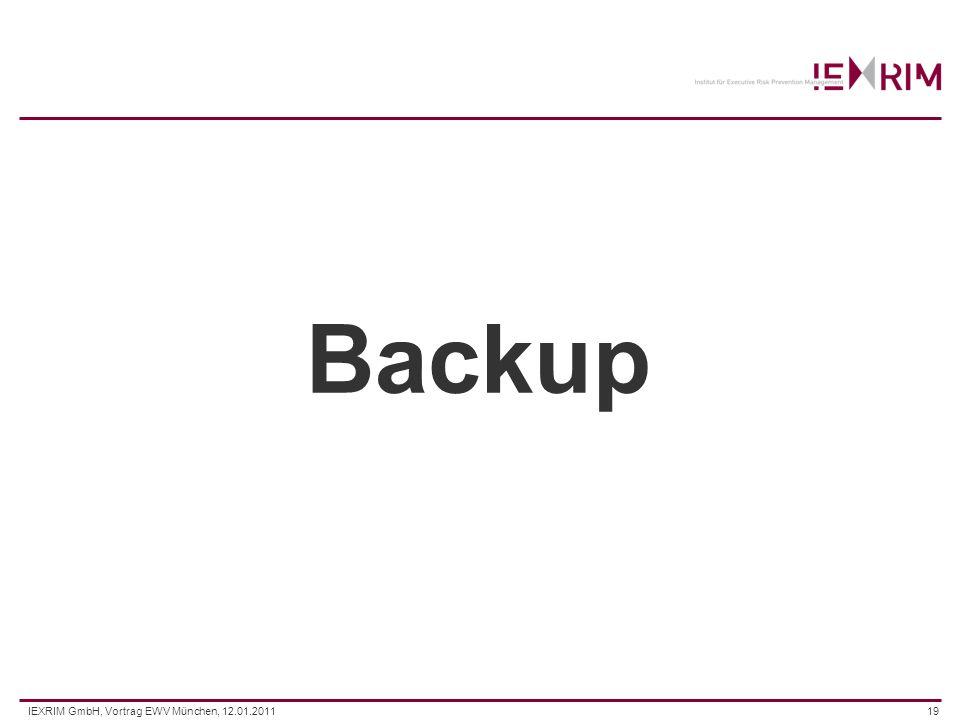 IEXRIM GmbH, Vortrag EWV München, 12.01.201119 Backup