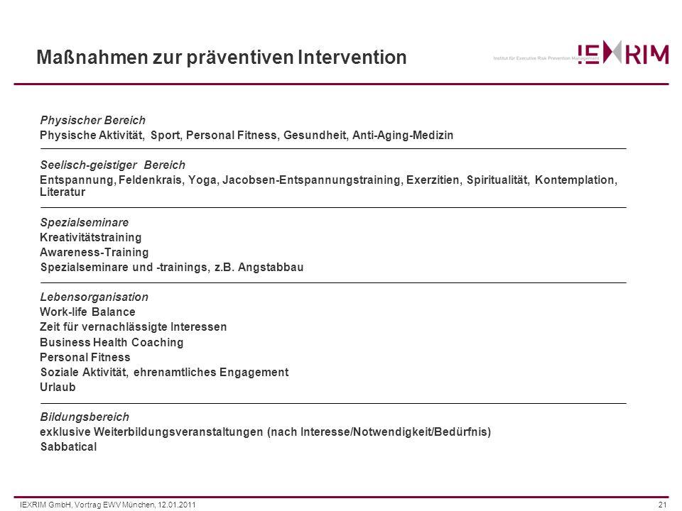 IEXRIM GmbH, Vortrag EWV München, 12.01.201121 Maßnahmen zur präventiven Intervention Physischer Bereich Physische Aktivität, Sport, Personal Fitness,