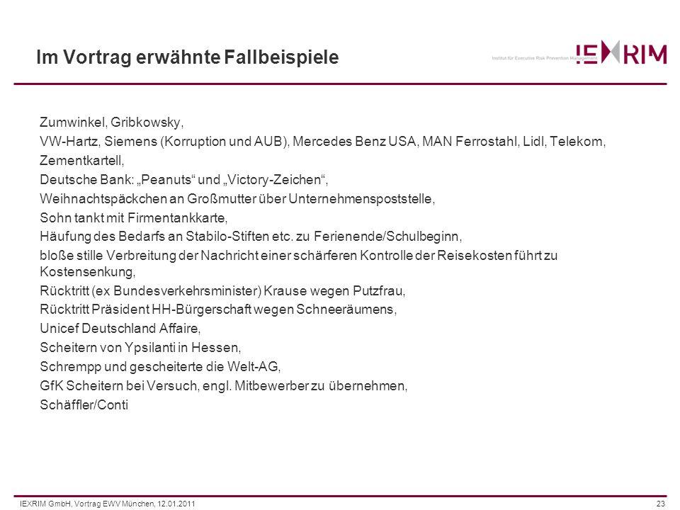 IEXRIM GmbH, Vortrag EWV München, 12.01.201123 Im Vortrag erwähnte Fallbeispiele Zumwinkel, Gribkowsky, VW-Hartz, Siemens (Korruption und AUB), Merced