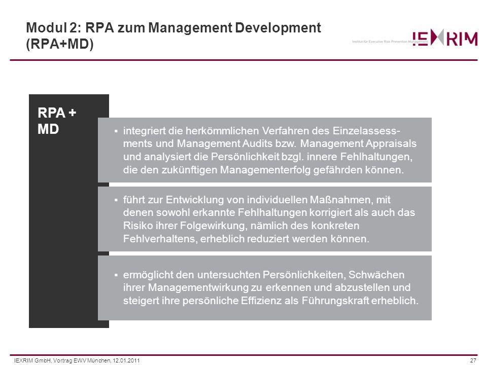 IEXRIM GmbH, Vortrag EWV München, 12.01.201127 Modul 2: RPA zum Management Development (RPA+MD) integriert die herkömmlichen Verfahren des Einzelasses