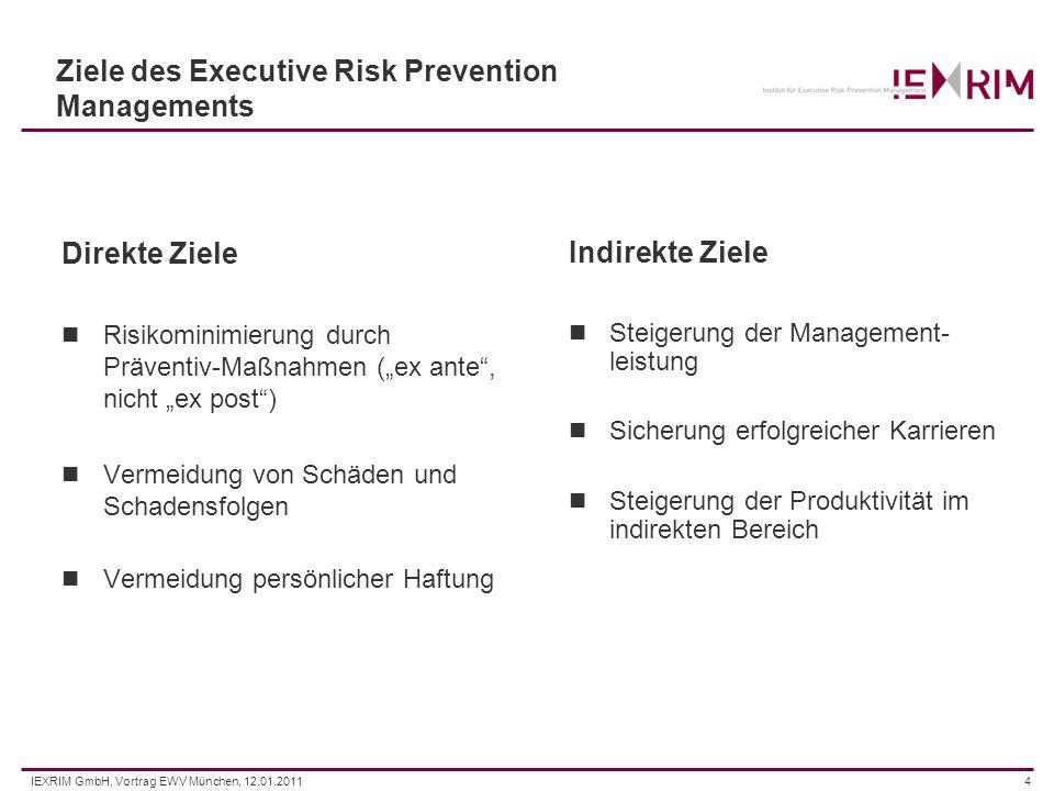 4 Ziele des Executive Risk Prevention Managements Direkte Ziele Risikominimierung durch Präventiv-Maßnahmen (ex ante, nicht ex post) Vermeidung von Sc