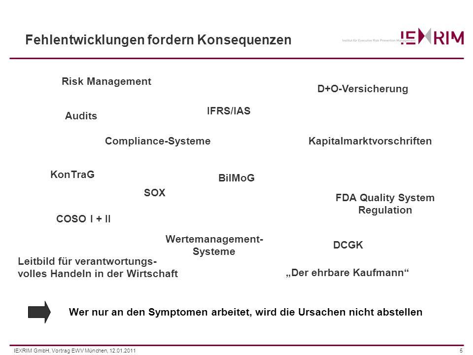 IEXRIM GmbH, Vortrag EWV München, 12.01.20115 Fehlentwicklungen fordern Konsequenzen Risk Management Compliance-Systeme SOX IFRS/IAS D+O-Versicherung