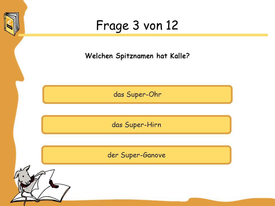 das Super-Ohr das Super-Hirn der Super-Ganove Frage 3 von 12 Welchen Spitznamen hat Kalle?