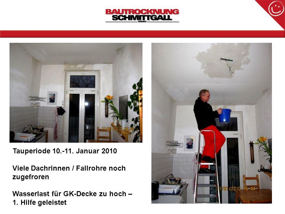 Tauperiode 10.-11. Januar 2010 Viele Dachrinnen / Fallrohre noch zugefroren Wasserlast für GK-Decke zu hoch – 1. Hilfe geleistet